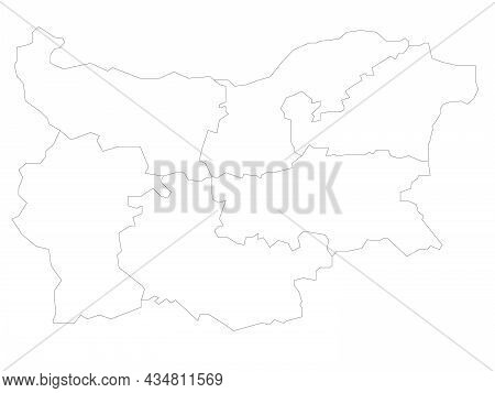 Political Map Of Bulgaria Divided Into Regions. Simple Flat Blank Black Outline Vector Map.