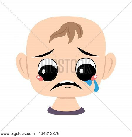 Child With Crying And Tears Emotion, Sad Face, Depressive Eyes. Head Of Cute Baby With Melancholy Ex