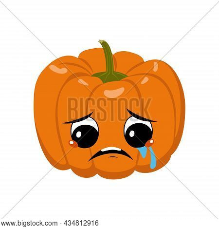 Cute Pumpkin Character With Crying And Tears Emotion, Sad Face, Depressive Eyes. Festive Decoration