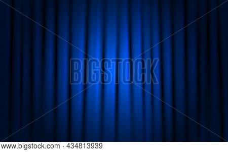 Curtain Blue Background. Shining Stage With Spotlight. Concert Or Theater Cloth. Ceremony Or Cinema