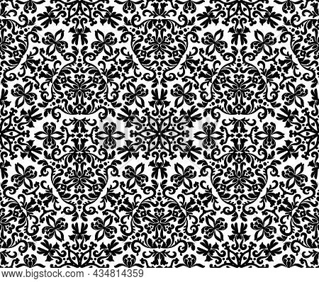 Decorative Seamless Vector Damask Pattern With Stylized Leaves. Black And White.