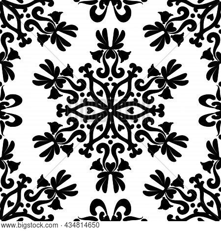 Linear Damask Seamless Vector Pattern. Black And White.