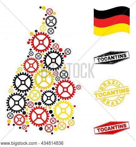 Service Tocantins State Map Collage And Seals. Vector Collage Is Composed Of Service Items In Differ