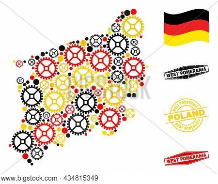 Service West Pomeranian Voivodeship Map Collage And Stamps. Vector Collage Is Composed With Clock Ge