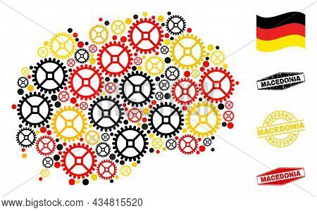 Service Macedonia Map Mosaic And Seals. Vector Collage Is Composed Of Repair Service Elements In Var