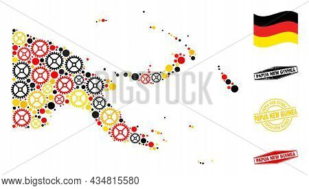 Service Papua New Guinea Map Mosaic And Seals. Vector Collage Is Composed With Clock Gear Elements I