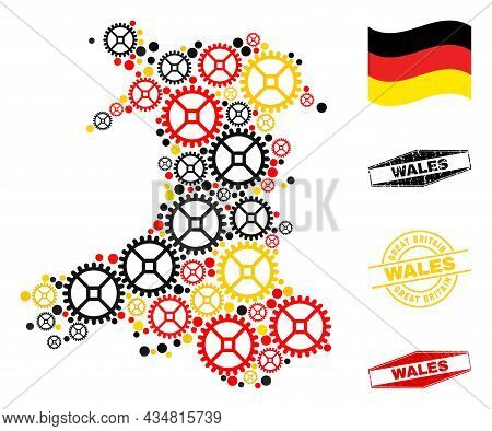 Repair Service Wales Map Collage And Seals. Vector Collage Is Formed From Repair Workshop Elements I