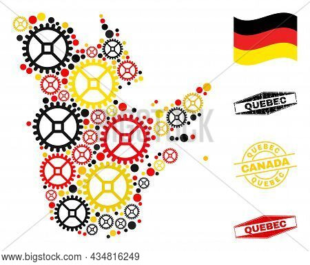 Wheel Quebec Province Map Collage And Stamps. Vector Collage Is Composed With Service Items In Varia