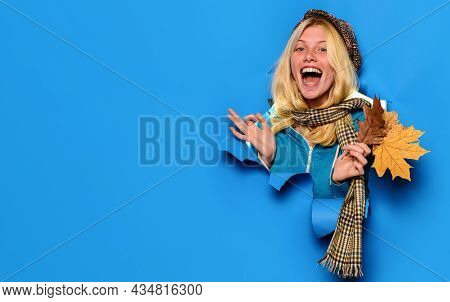 Women Fashion. Smiling Girl In Cap And Scarf With Autumn Leaves Shows Sign Ok. Autumn Clothing For W