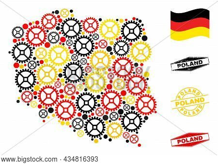 Repair Workshop Poland Map Collage And Seals. Vector Collage Is Composed With Repair Service Icons I