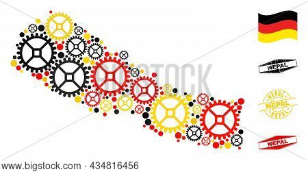 Repair Service Nepal Map Collage And Seals. Vector Collage Is Composed From Workshop Items In Variab