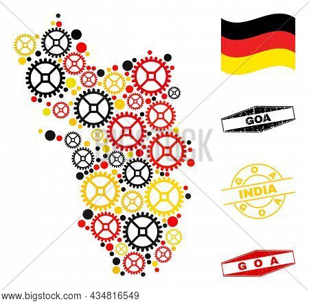 Workshop Goa State Map Collage And Seals. Vector Collage Is Composed Of Workshop Elements In Differe
