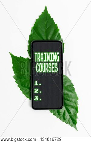 Text Showing Inspiration Training Courses. Concept Meaning Is Series Of Lessons Or Lectures Teaching