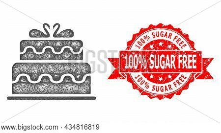 Network Marriage Cake Icon, And 100 Percent Sugar Free Unclean Ribbon Seal. Red Seal Contains 100 Pe