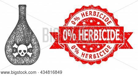Net Poison Jug Icon, And 0 Percent Herbicide Rubber Ribbon Stamp Seal. Red Stamp Has 0 Percent Herbi