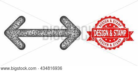 Network Swap Arrows Icon, And Design And Stamp Textured Ribbon Stamp Seal. Red Seal Has Design And S