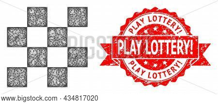 Wire Frame Chess Cells Icon, And Play Lottery Warn. Dirty Ribbon Seal Imitation. Red Seal Has Play L