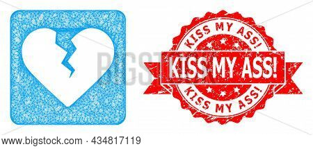 Network Divorce Heart Icon, And Kiss My Ass Warn. Unclean Ribbon Stamp Seal. Red Stamp Seal Contains
