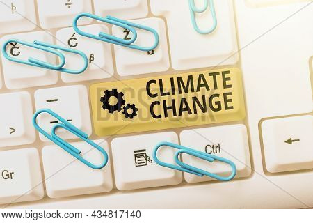 Text Showing Inspiration Climate Change. Conceptual Photo Change In The Expected Pattern Of Average
