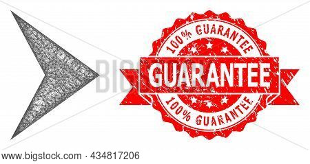 Network Right Direction Icon, And 100 Percent Guarantee Rubber Ribbon Stamp Seal. Red Stamp Contains