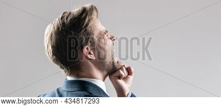 Professional Man Employee Got Punch In Face With Fist Grey Background Copy Space, Defeat