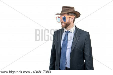Party Like Cowboy. Happy Man In Cowboy Hat And Funny Glasses. Western Party. Welcome, Copy Space