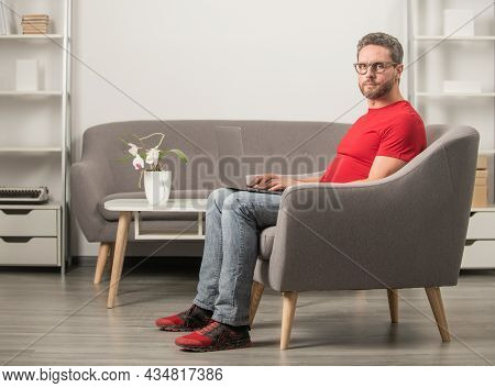 Modern Technology. Check Email. Freelance Man In Glasses Post Blog Online