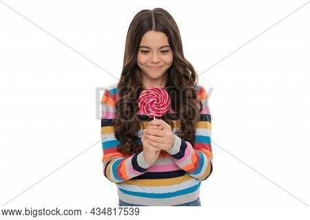 Wow. Sweet Tooth. Yummy. Happy Girl Hold Lollipop Isolated On White. Lollipop Child.