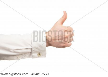 Approval Gesture Of Thumb Up With Male Hand Isolated On White, Approvement