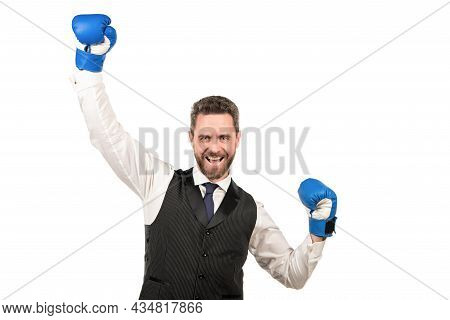 Relentless Struggle And Success. Happy Man Ready For Corporate Battle.