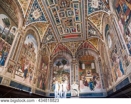 Siena, Italy - August 15 2021: Piccolomini Library Interior In Siena Cathedral With Three Graces And