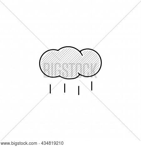 Rainy Cloud Vector Thin Line Icon. Rain Hand Drawn Thin Line Icon.