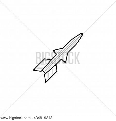 Military Missile Vector Thin Line Icon. Military Missile Hand Drawn Thin Line Icon.