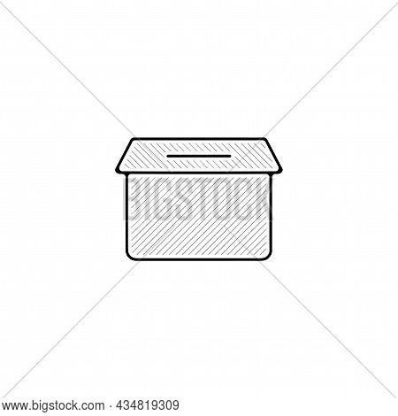 Ballot Vector Thin Line Icon. Ballot Hand Drawn Thin Line Icon.