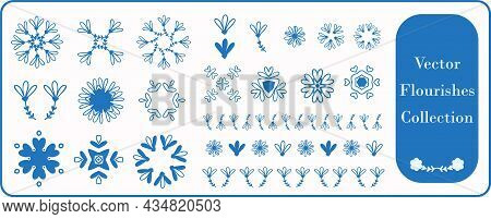 Scandia Style Small Floral Motif Flourish Vector Collection. Minimal Hand Drawn Icon Set With Border