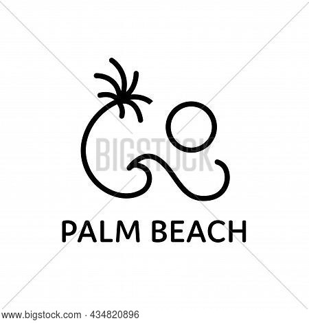 Simple Design Of Summer Beach And Monoline Palm Tree, Continuous Line, Island Icon Isolated On White