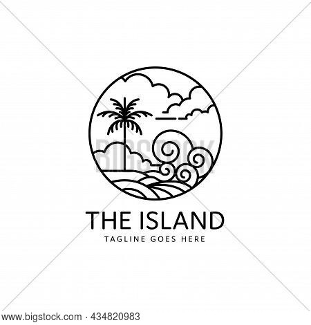 Summer Tropical Island Waves Beach Monoline Style Design, Island Icon Isolated On White Background F