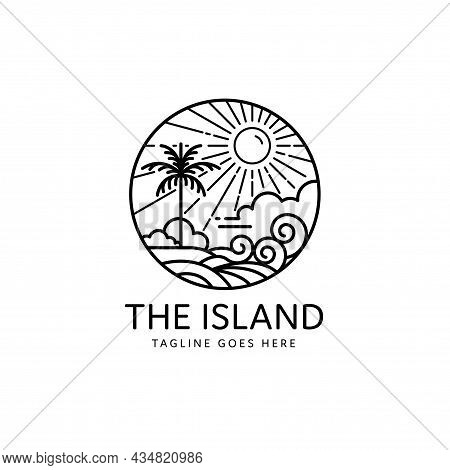 Summer Tropical Island Sun Shining Monoline Design, Island Icon Isolated On White Background From To
