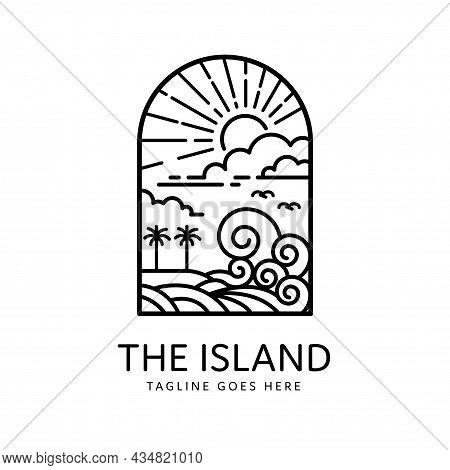 Tropical Island Sun Shining Summer Beach Badge Monoline Design, Island Icon Isolated On White Backgr