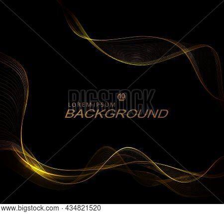 Black Gorgeous Composition, Subtle Isolated Twisting Patterns Of Golden Hue.