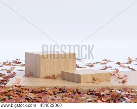 Autumn Concept Empty Wooden Podium Surrounded By Fallen Leaves On White Background 3d Render