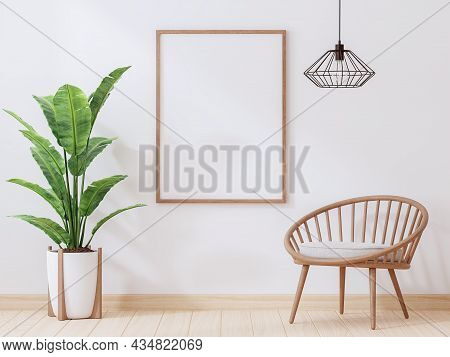 Blank Wooden Picture Frame On White Paint Wall 3d Render Decorate With Wood Chair ,metal Wire Lamp A