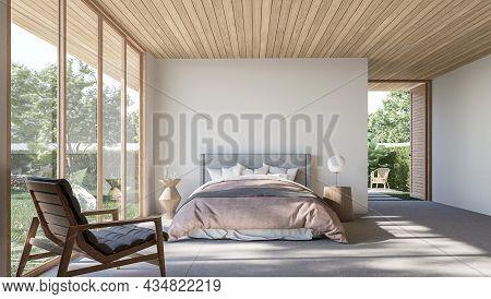 Modern Contemporary Loft Bedroom With Open Door To Garden 3d Render The Rooms Have Concrete Tile Flo