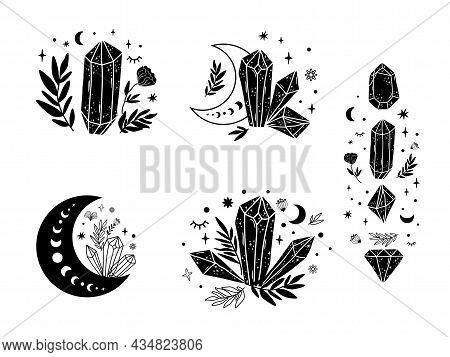 Magical Stone Set, Moon, Floral Magic Crystal Shape. Spiritual Stone Collection. Celestial Graphic E