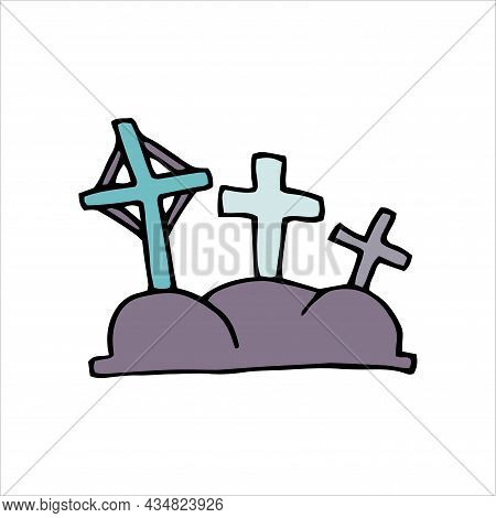 Vector Doodle Crosses. Gray Color Grave Isolated On White Background. Crooked Crosses On The Tomb On