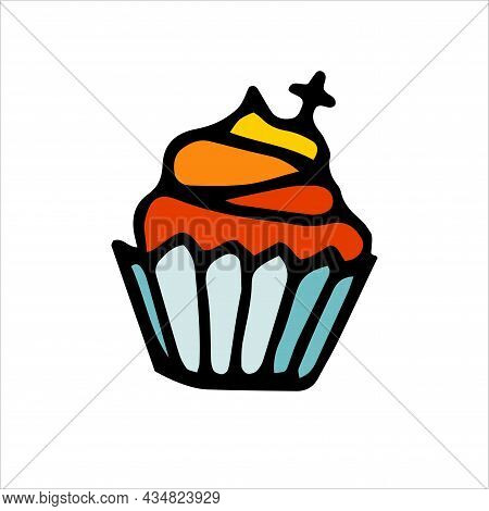Doodle Cupcake With Cream, Decoration. Hand-drawn Dessert For Kids Parties, Halloween, Baptism, East