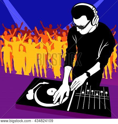 Dance Party Background With Dj Mixing A Music And Dancers Silhouettes In Background - Colorful Abstr