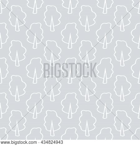 Tree Seamless Pattern Hand Drawn Doodle. Vector, Minimalism, Monochrome. Textiles, Wrapping Paper, W