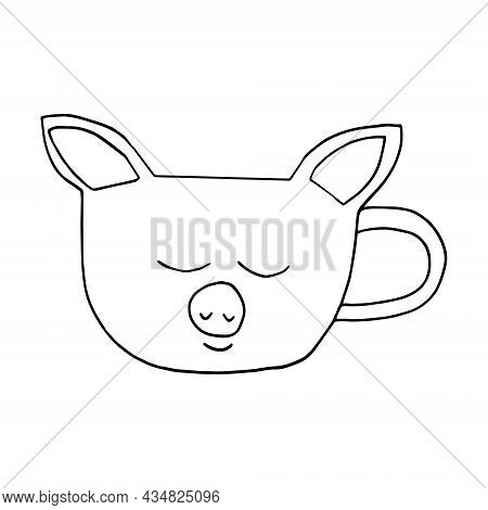 Cup In The Form Of A Face Of A Pig Hand Drawn Doodle. Vector, Minimalism. Hot Drink, Cocoa, Coffee,