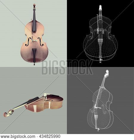 Classic Violoncello. Four Images Classic Cello Isolated On A Neutral Background. 3d Illustration